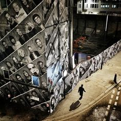 """insideoutproject instagram : """"The Inside Out team in London stayed up until 3am working on this installation. Great job guys! For more pictures, check out @JR #insideoutproject"""""""
