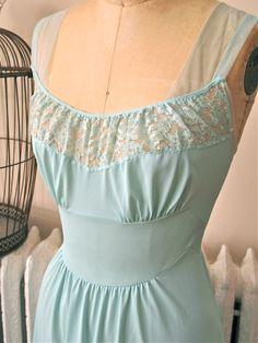 Sophia | Vintage 1960s Vanity Fair Seafoam Nylon Full Slip with Floral Lace and Sheer Mesh Shoulders by BobbinsNBombshells on Etsy