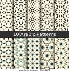 Set of ten vector arabic traditional geometric patterns.design for textile, covers, packaging