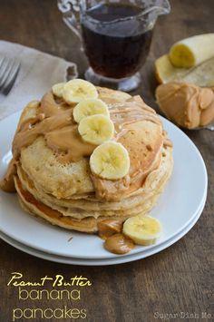 Peanut Butter Banana Whole Wheat Pancakes - Sugar Dish Me
