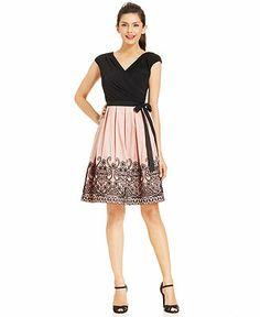 Dress, SL Fashions Cap-Sleeve Embroidered Dress, Macy's
