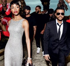 Street Smarts - Like the big music personalities featured on Empire, The Weeknd travels with an entourage. From far left: Lamar Taylor, Patrick McMorrow, Liban Ali-Shiekh, and Devon Charles. On Dunn: Michael Kors Collection dress. Harry Winston bracelets.