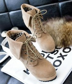 Fashion High-Heeled Foldable Martin Boots