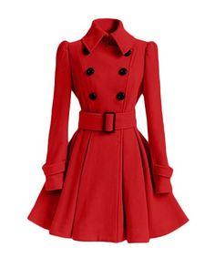 Women's Chic Belt Long Sleeve Winter Coat Dress