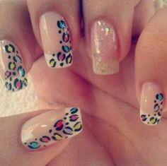 Fun animal print French tip nails