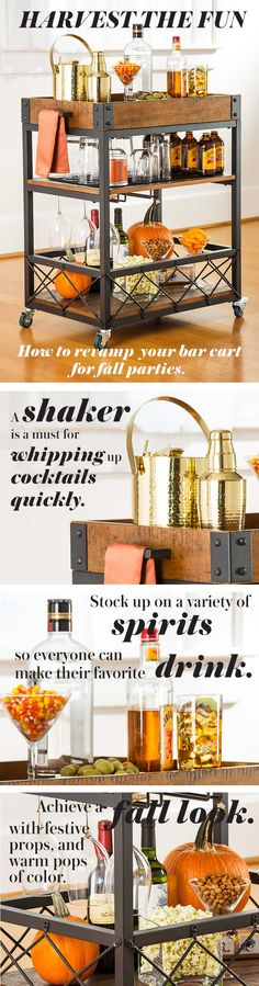 To keep spirits high, allow guests to help themselves. A bar cart lends added class. Stock it with a variety of mixers, vodka, gin, whiskey, rum and tequila. Don't forget a shaker, jigger, bar spoon, napkins and a sign with your signature drink.