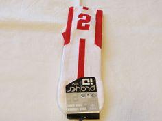Player ID by TCK PCN LG # 2 TWI 1 sock white red vollyball basketball soccer #TCK #crewsock