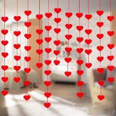 16 Hearts Romantic Wedding Decoration Marriage Room Layout DIY Non-woven Garland Creative Love Heart Curtain Wedding Supplies Diy Reception Decorations, Valentine Decorations, Drop Cloth Curtains, Diy Curtains, Roman Curtains, Beige Curtains, Purple Curtains, French Curtains, Short Curtains