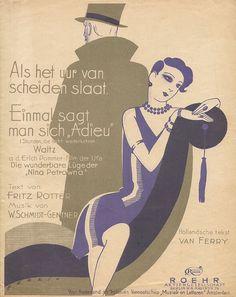 Muziekblad – Als het uur van scheiden slaat, omslagontwerp: Willy Herzig (ca. 1925)