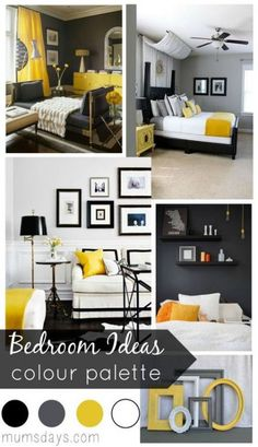 Colour palette for bedroom black and yellow bedroom ideas with colour palette white walls colour combination . colour palette for bedroom 5 ideas Bedroom Color Schemes, Bedroom Colors, Bedroom Ideas, Colourful Bedroom, Colour Schemes, Colour Palettes, Design Bedroom, Yellow Gray Bedroom, Bedroom Black
