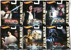 Star Wars Pop Culture Hot Wheels Car Set 2015 Luke Skywalker Han Solo Princess Leia R2D2  C3PO Droids Darth Vader ** More info could be found at the image url.