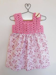 Buy Pink Floral Printed Cotton Dress with Crochet Yoke Knitting Kids Dresses/Jum. - Buy Pink Floral Printed Cotton Dress with Crochet Yoke Knitting Kids Dresses/Jum… – Dollops of Sunshine skirt street style skirt mini skirt vintage - Crochet Dress Girl, Crochet Baby Dress Pattern, Crochet Yoke, Crochet Fabric, Crochet Girls, Cotton Crochet, Crochet Patterns, Baby Tulle Dress, Diy Dress