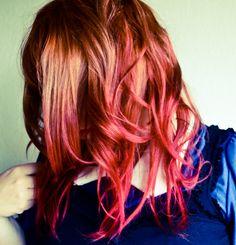Orange Hair W/ Pink Ombre