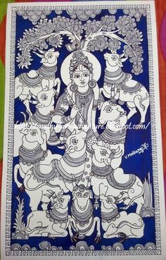 Traditional Indian Paintings: Kalamkari - KrishnaYou can find Indian paintings and more on our website. Pichwai Paintings, Indian Art Paintings, Abstract Paintings, Kalamkari Painting, Madhubani Painting, Phad Painting, Expos Paris, Indian Traditional Paintings, Kerala Mural Painting
