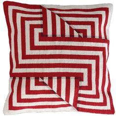 Needlepoint cushion, optical illusion. Folds 1 Strong Red
