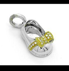 Aaron Basha Designer Diamond Baby Shoe Charm 18k white gold! Stunning! - http://designerjewelrygalleria.com/aaron-basha/aaron-basha-designer-diamond-baby-shoe-charm-18k-white-gold-stunning/