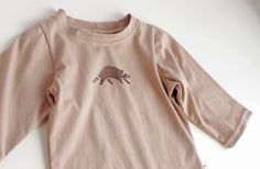 Organic Raccoon Long Sleeve Baby T-Shirt - Handmade baby long sleeve - Naturally hand dyed - 100 % organic cotton - Vegan baby t-shirt by CatherineSoucy on Etsy