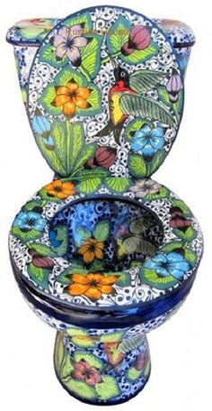 Mexican Talavera Toilet set Mexican bathroom sets consisting of hand painted sink, talavera toilet, mexican toilet seat and ceramic accessories.