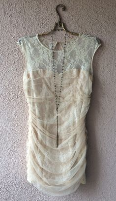 Image of Vintage tulle wiggle madmen romantic gypsy lace dress