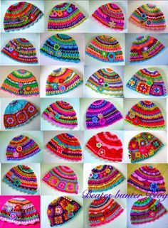 crafts for spring : colorful hat, crochet pattern Bonnet Crochet, Crochet Motifs, Crochet Baby Hats, Crochet Beanie, Knit Or Crochet, Crochet For Kids, Crochet Crafts, Yarn Crafts, Crochet Clothes