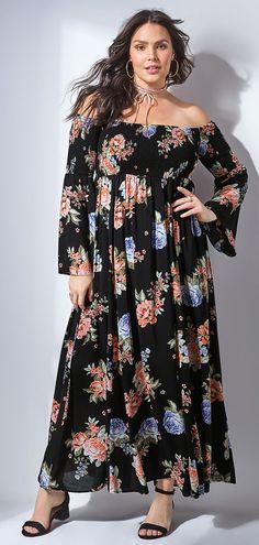d22c8ef57d3 Plus Size Floral Smocked Maxi Dress