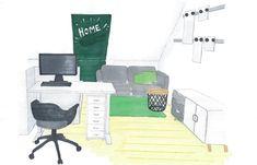 Jugendzimmer mit Dachschräge www.lk-design.at Wordpress, Kids Rugs, Design, Home Decor, Store Shelving, Swivel Chair, Paint For Walls, Table Desk, Kid Friendly Rugs