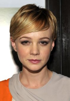 Carey Mulligan Cute Short Pixie Haircut with Side Swept Bangs