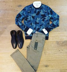Camoflage in te City. Sweater shirt en chino #castiron boots #neroGiardini #male www.partnermode.nl