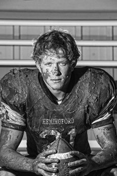 Getting dirty is a great idea for a football pic!