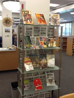 2012-2013 - Graphic novel display. Used old graphic novels pages as the backdrop. @wtwlib