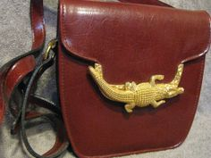 Vintage Gold Metal Crocodile Alligator Crossbody by LIFEofOLWEN, $54.99