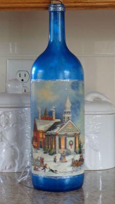 1.5 Lt  Wine Bottle Lamp Blue Frosted Bottle, Pretty Winter/Church Scene #9 #StoneCellars
