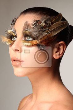 Prints / Poster decorative feather make-up like the wing of a bird - woman • PIXERSIZE.com