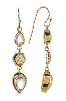 Melinda Maria - Levi Teardrop Pave Geo Linear Earrings