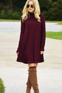 Warm Wishes Textured Knit Turtleneck Dress - Burgundy