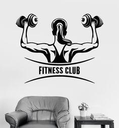 Vinyl Wall Decal Fitness Club Logo Woman Gym Girl Motivation Stickers (ig3495)