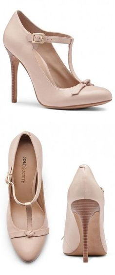Nude T-Strap Pumps ♥