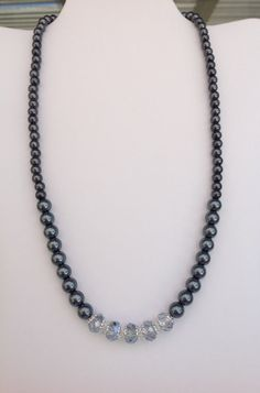 Handmade Graduated Gray Glass Pearl Necklace with Pale Blue Faceted Glass Beads on Etsy, $19.00
