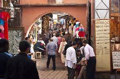 Covered markets of Souk Zaghlel in the medina (Marrakech)