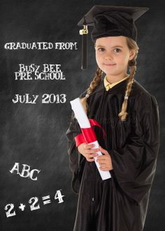 Pre School graduation photo sessions with chalk board background and date/name of Pre School added. From Bright Eyes Photography