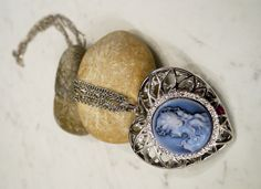 Cute silvery Cameo Antique Jewellery Pendant - on sale! by BelledeJourVintage on Etsy