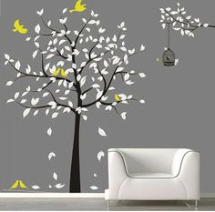 Vinyl Tree wall decals wall stickers baby decal nursery decal kids wall art wall decor murals graphic- tree with birds Art Wall Kids, Wall Art Decor, Black And White Tree, Nursery Decals, Wall Drawing, Natural Home Decor, Tree Wall, Wall Stickers, Kids Stickers