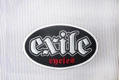 Exile Cycles - Silver patch - Black pinstripe on white Workshirt Buick Logo, Cycling, Patches, Bike, Clothing, Silver, T Shirt, Black, Bicycle