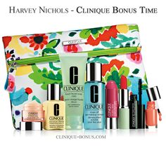 A complimentary bag with 8 Clinique items - at Harvey Nichols (UK) with 2 Clinique products purchase. http://clinique-bonus.com/united-kingdom/
