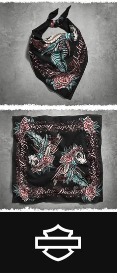 Features a somber skull ringed with a gorgeous crown of roses and feathers. | Harley-Davidson Women's Feather & Skull Bandana