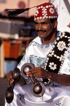Africa | Gnaoua Musician, Jemaa el Fna square, Marrakech Medina, Morocco | ©Darren Humphrys
