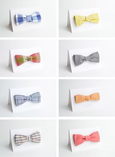 Boy baby shower place cards..or make something with bows for a boy theme party!