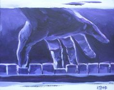 "Kemp 2009 ""Piano Hand"" acrylic on canvas, 18x24 cm, SOLD http://werkvankemp.nl"