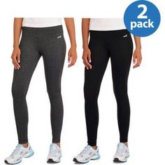 Avia Women;s Essential Active Yoga Leggings with Moisture Wicking Properties, 2 pack, Women's, Size: XS, Black
