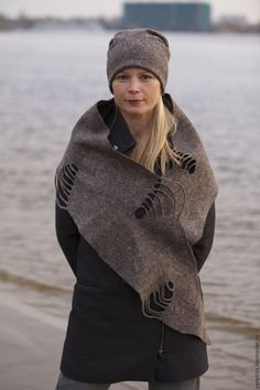 """Купить комплект валяный шапка и шарф шерстяные """"Марта"""" - серый, шапка валяная, шапка женская"""